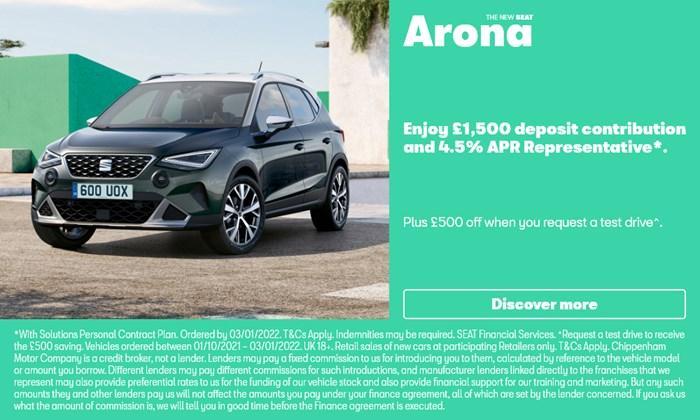 SEAT Arona with £1500 deposit contribution