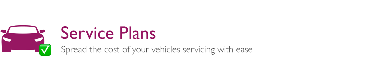 Service Plans white banner with small pink car icon and green tick box and grey text description
