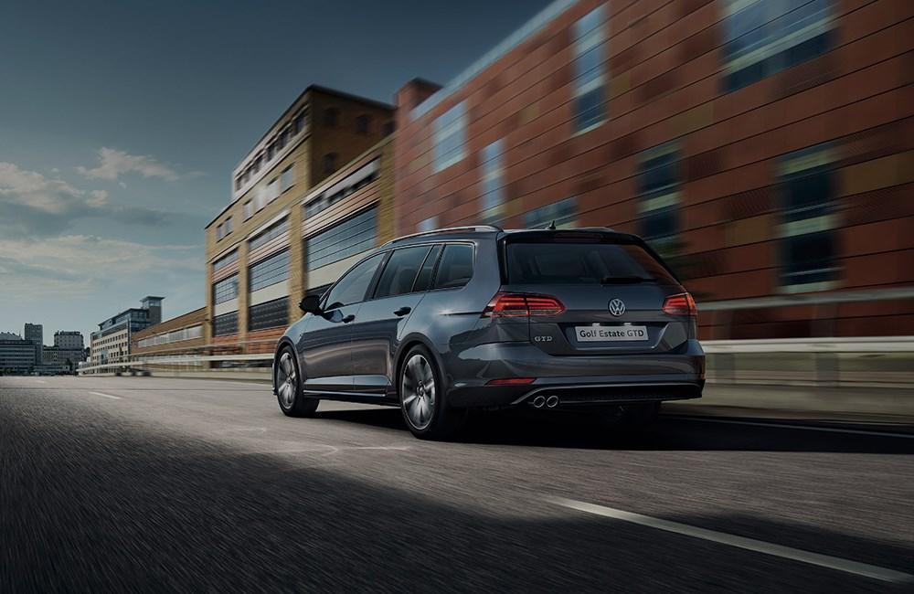 Dark Grey Volkswagen Golf Estate from the rear