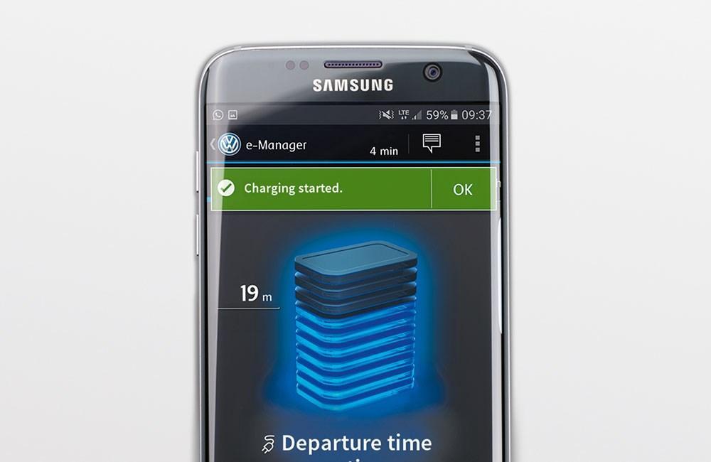 Samsung smart phone with Volkswagen App open