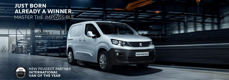 White Peugeot New Partner Van Banner