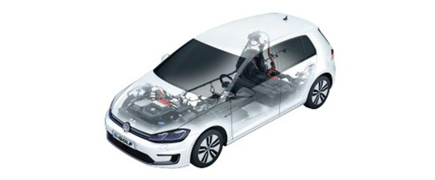 Volkswagen eGolf image showing engine and powertrain