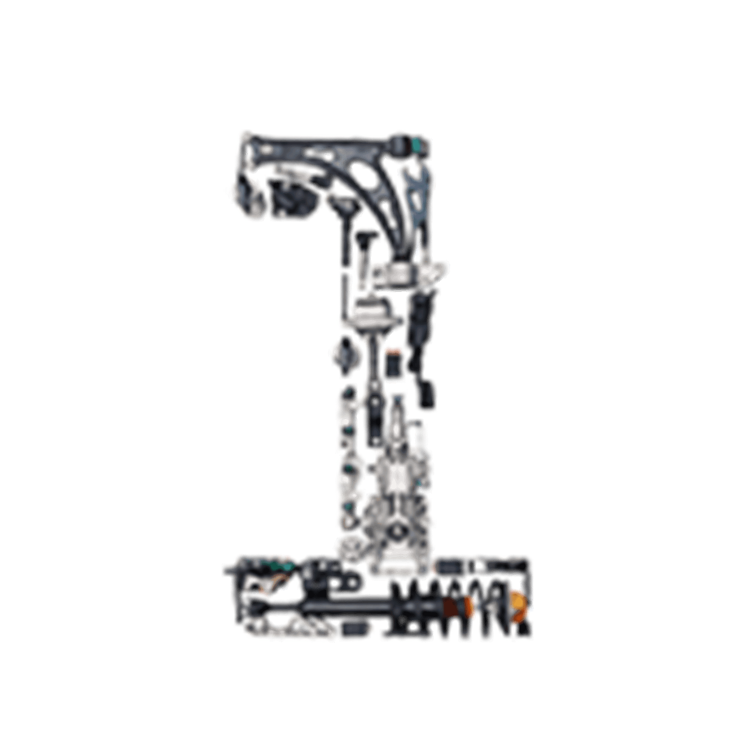 Number 1 made from car parts