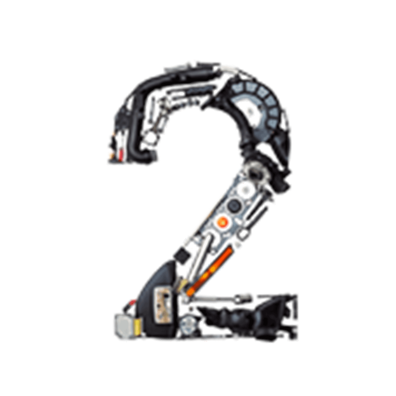 Number 2 made from car parts