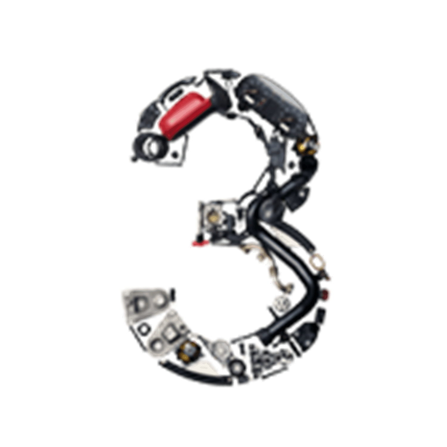 Number 3 made from car parts