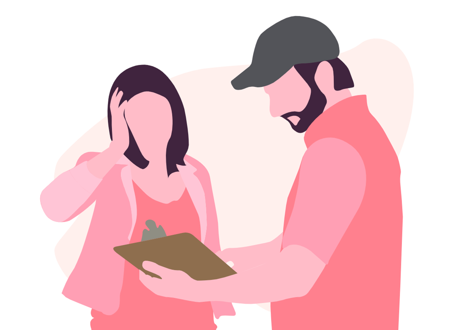 Pink animated man showing pink animated woman a clipboard