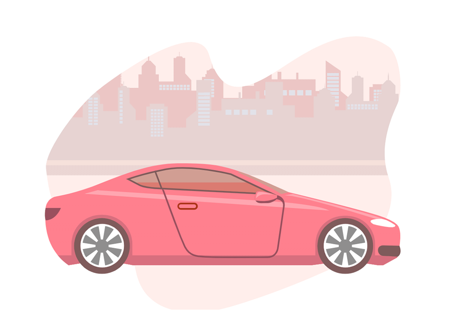 Side profile of pink car