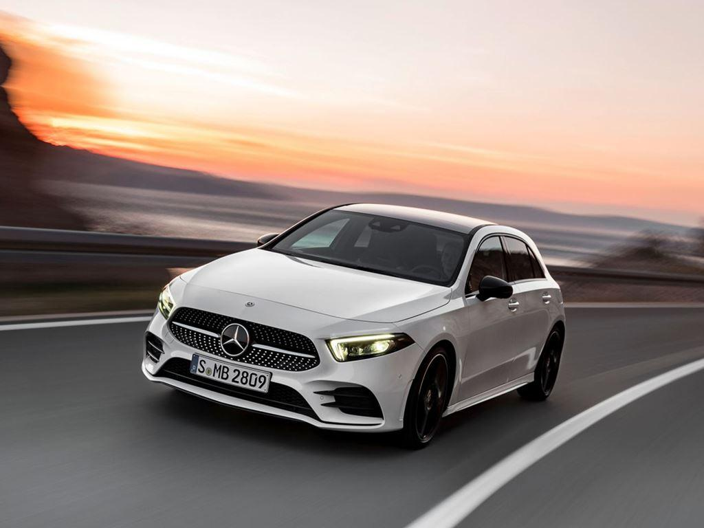 White A-Class On Road