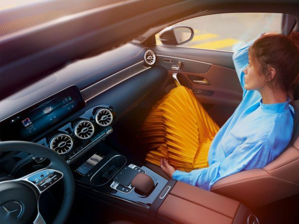 Woman sat in passenger seat