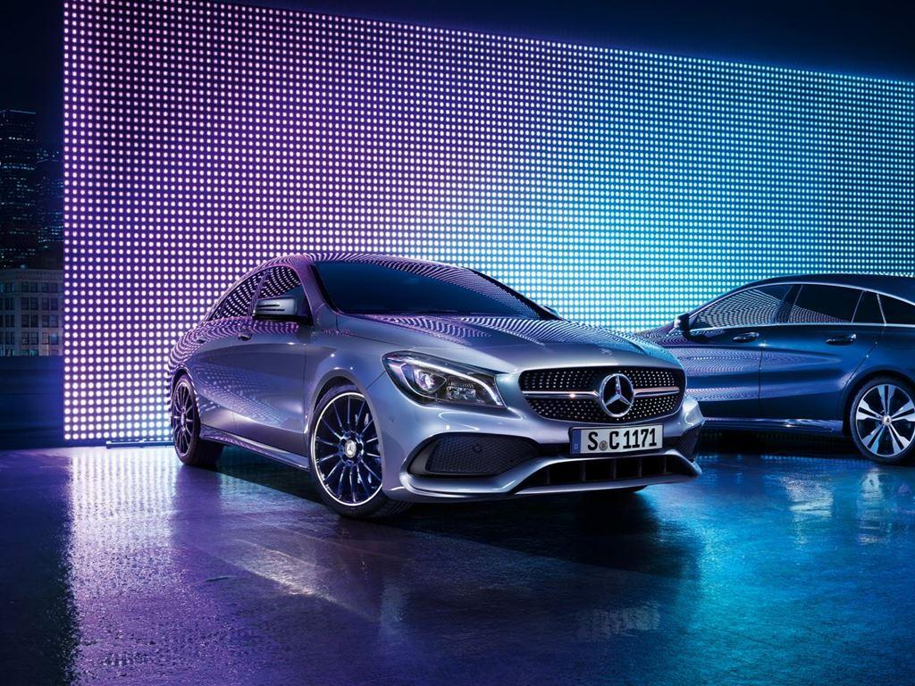 Silver and Blue CLA Coupe