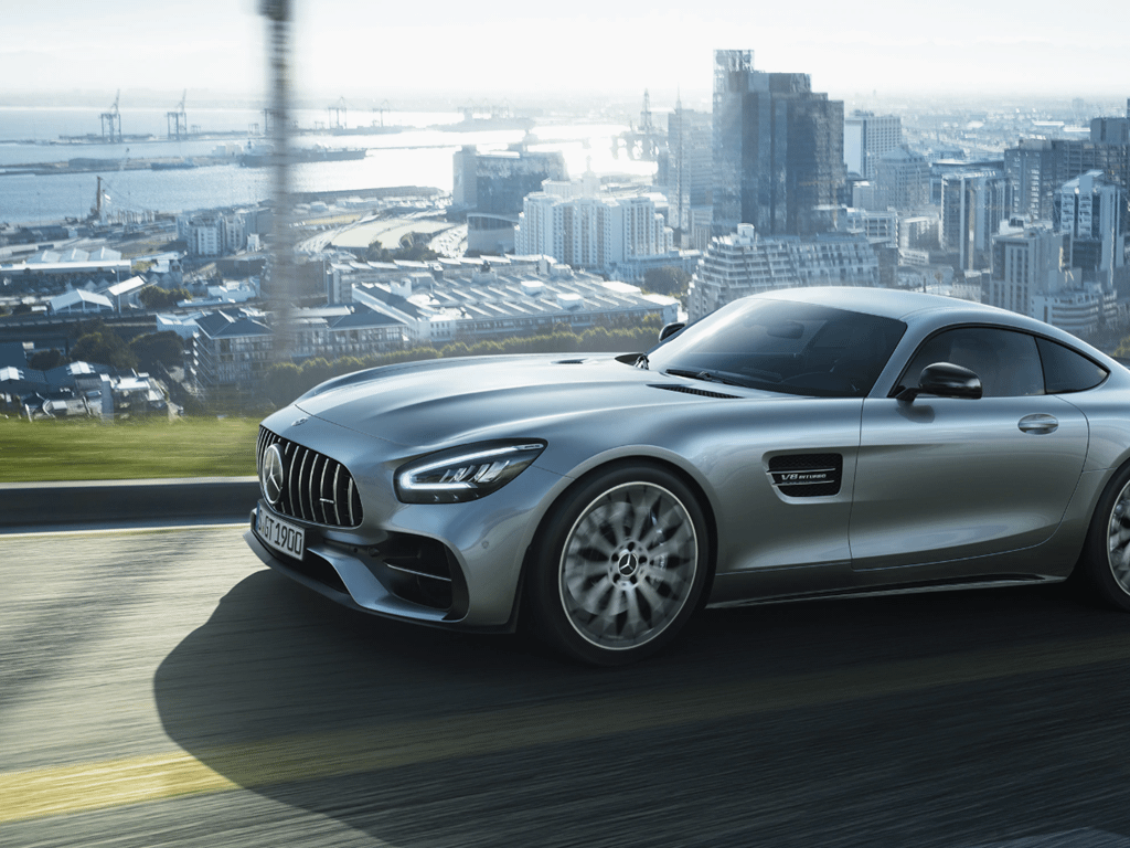 Silver AMG GT Coupe Driving