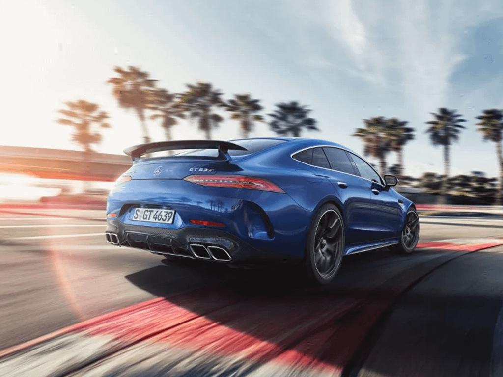 Blue Mercedes-AMG GT 4-Door Coupe