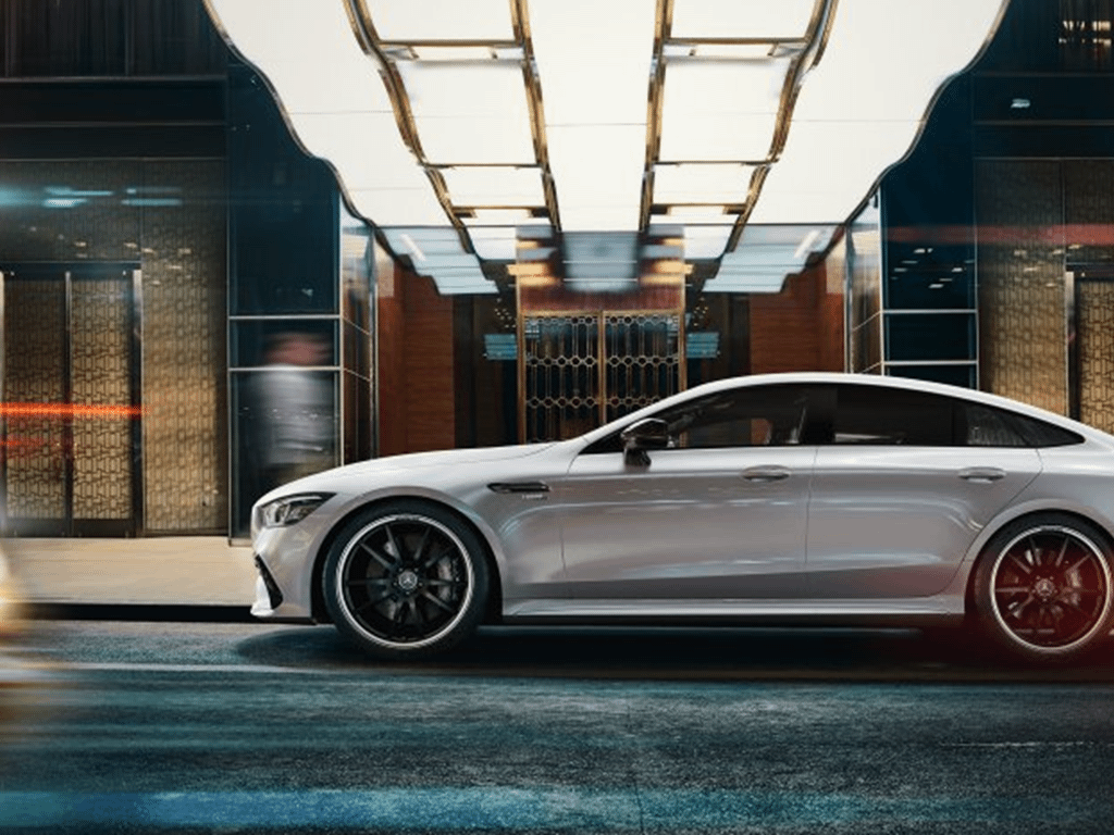 White Mercedes-AMG GT 4-Door Coupe Side View