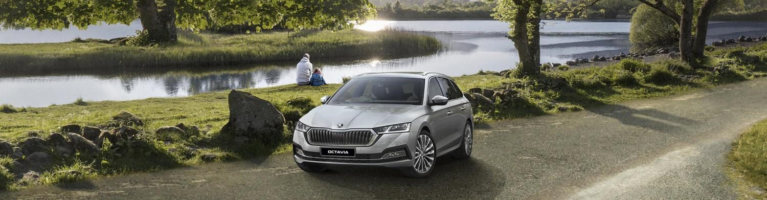 Silver Skoda Octavia by lake