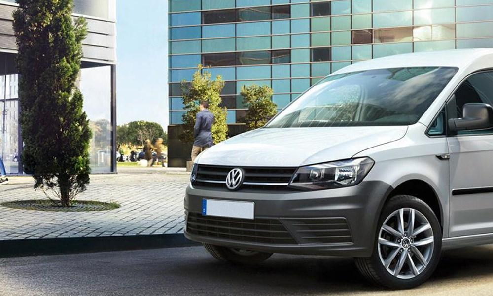 Front of white Volkswagen Caddy