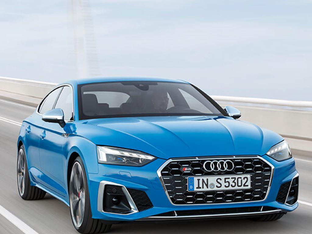 Blue S5 Coupe driving front view