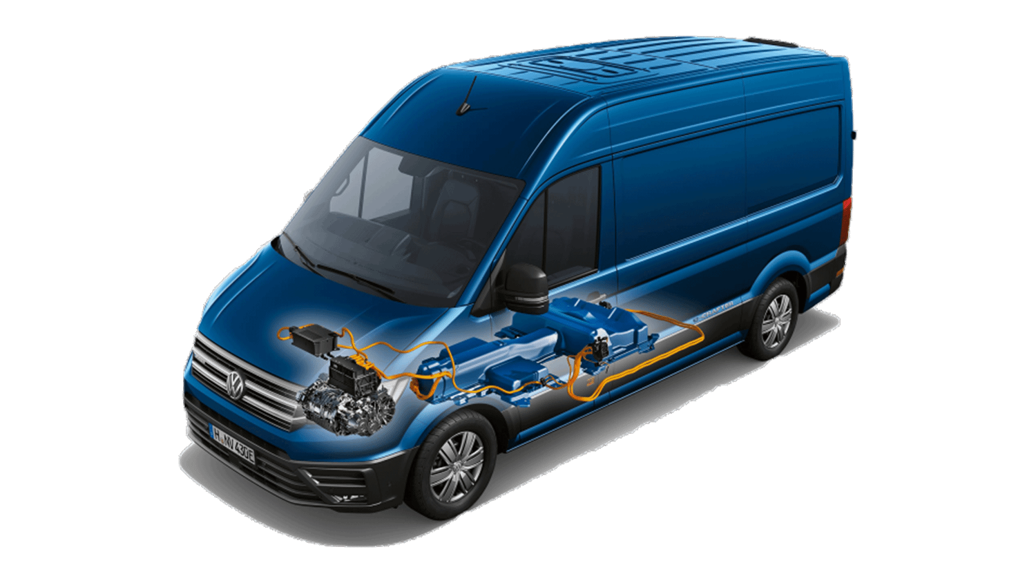 Blue Volkswagen Crafter with internal platform highlighted