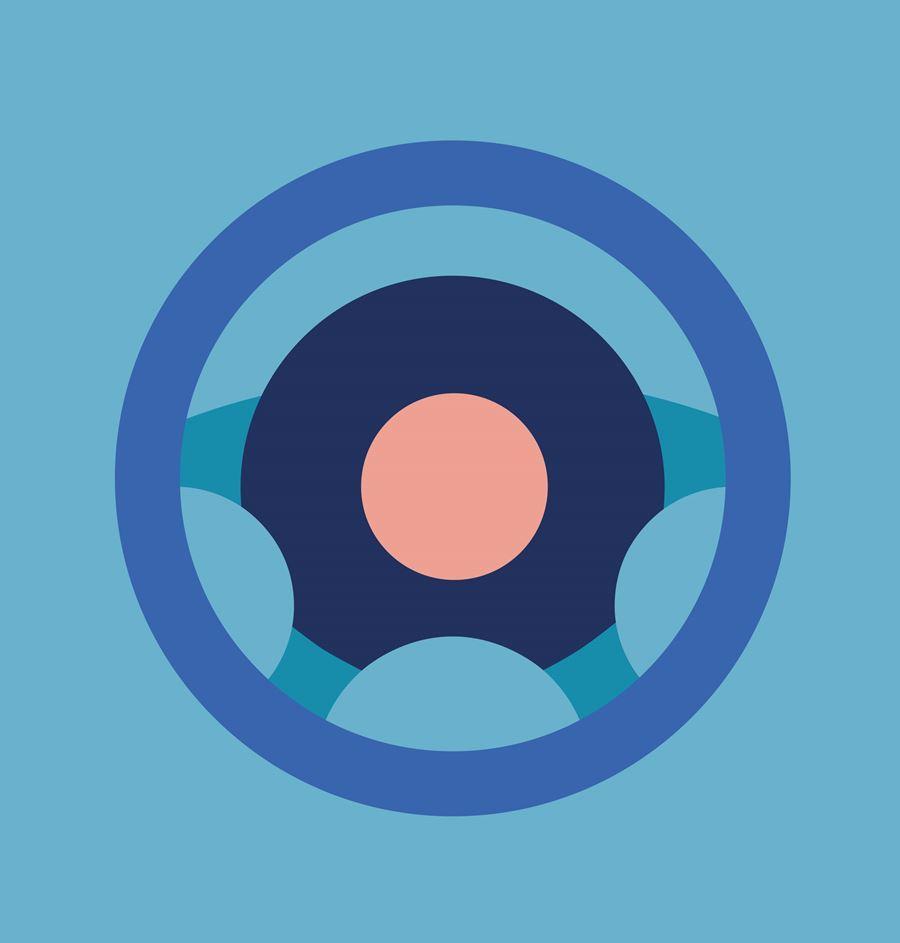 Blue Steering Wheel Icon