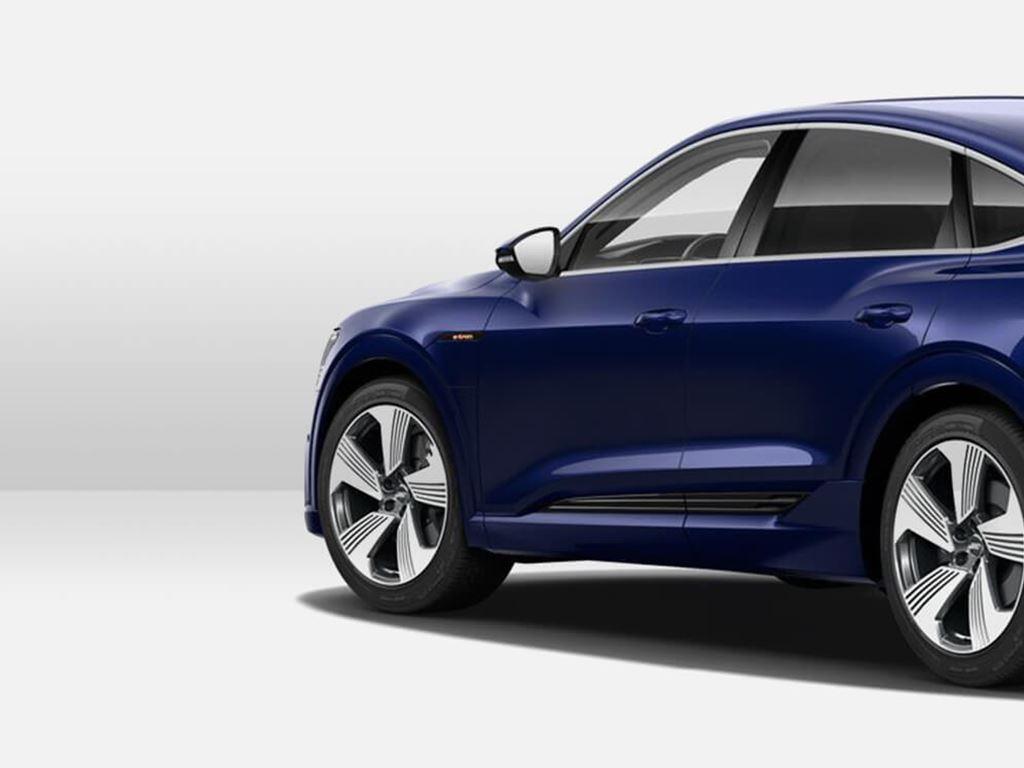 blue e-tron Sportback rear view