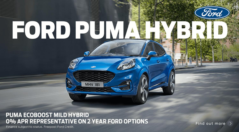 Blue Ford Puma Hybrid 0% APR on 2 year option banner