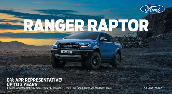 Ford Ranger Raptor from £319 per month with 0% APR