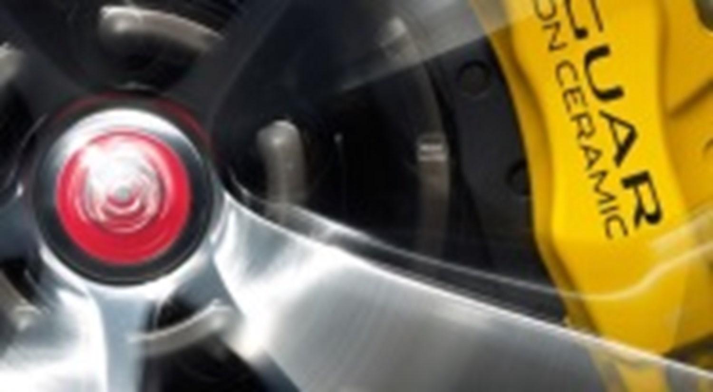 Close up of Jaguar Alloy and Yellow Brake Caliper