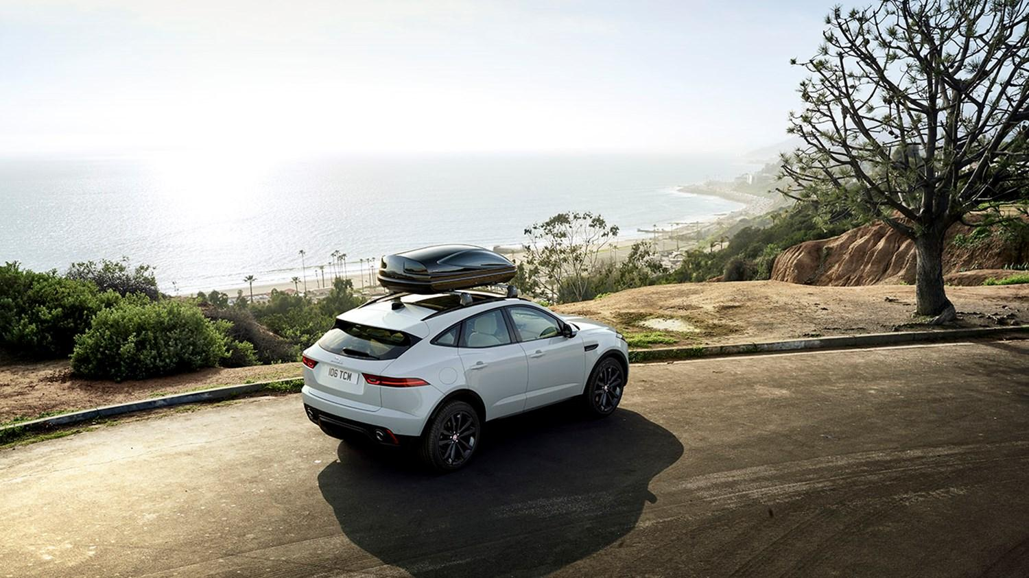 Arial view of a white Jaguar E-Pace