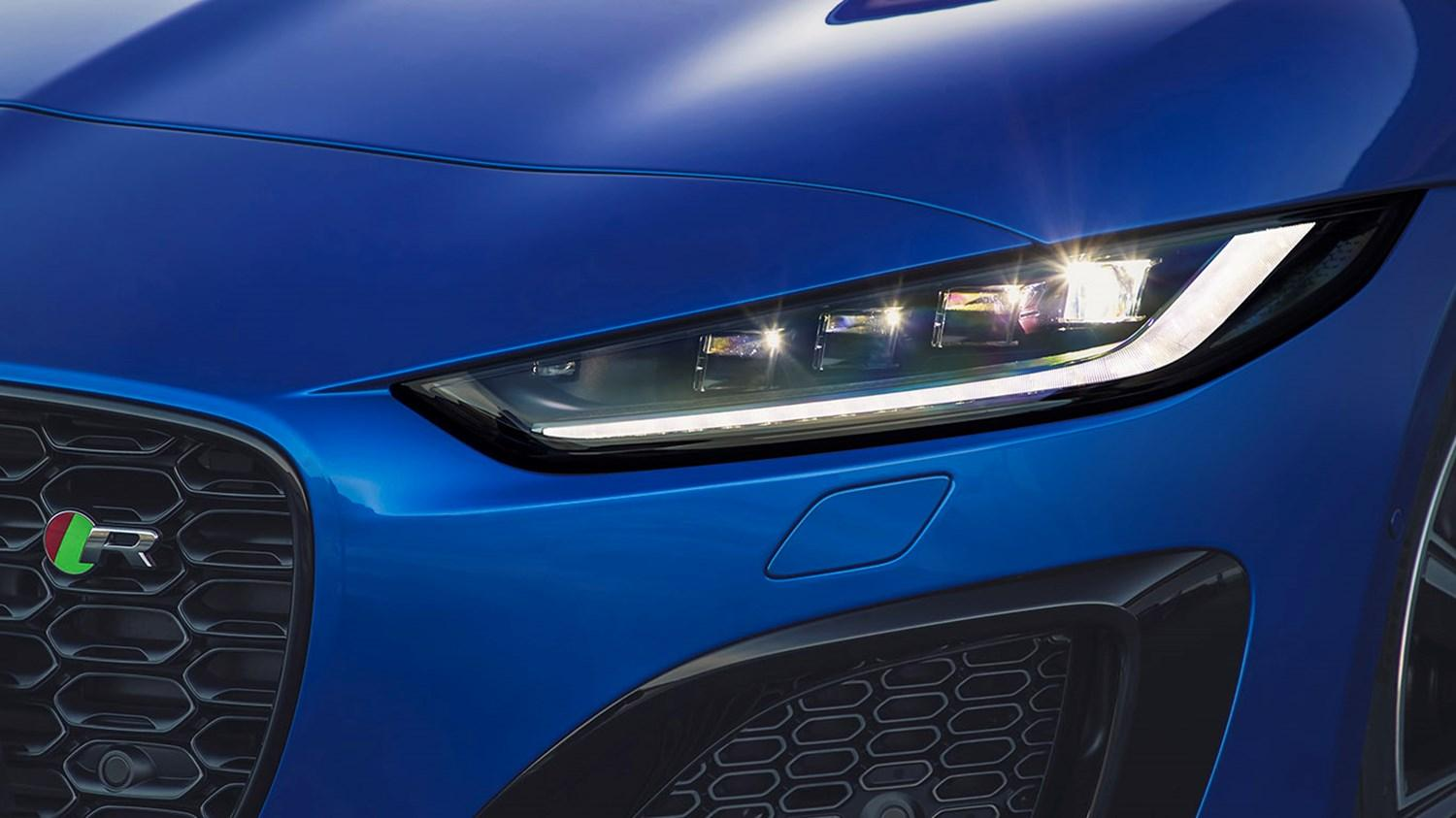 Zoomed in image of a jaguar headlight