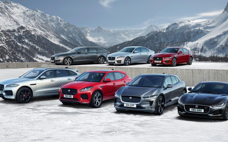 Range of parked Jaguars