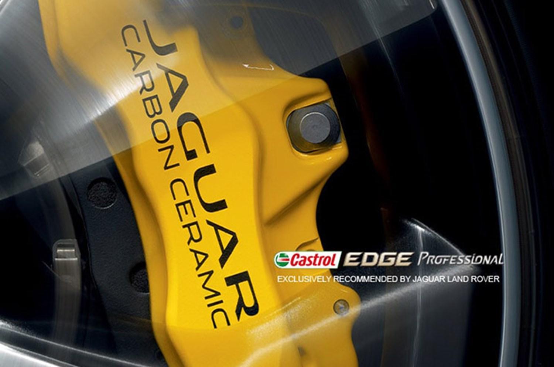 Yellow Jaguar Brake Caliper with Castrol Edge Logo overlaid