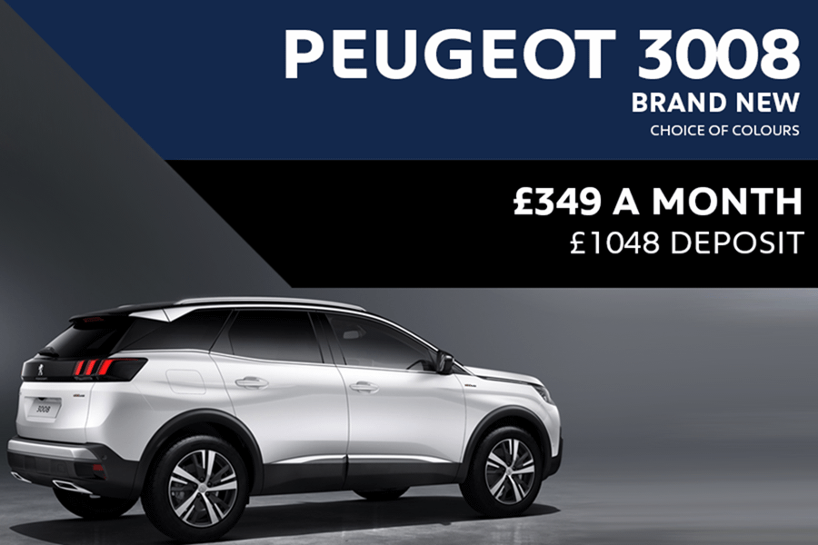 Peugeot 3008 SUV - Only £349 A Month With £1,048 Deposit