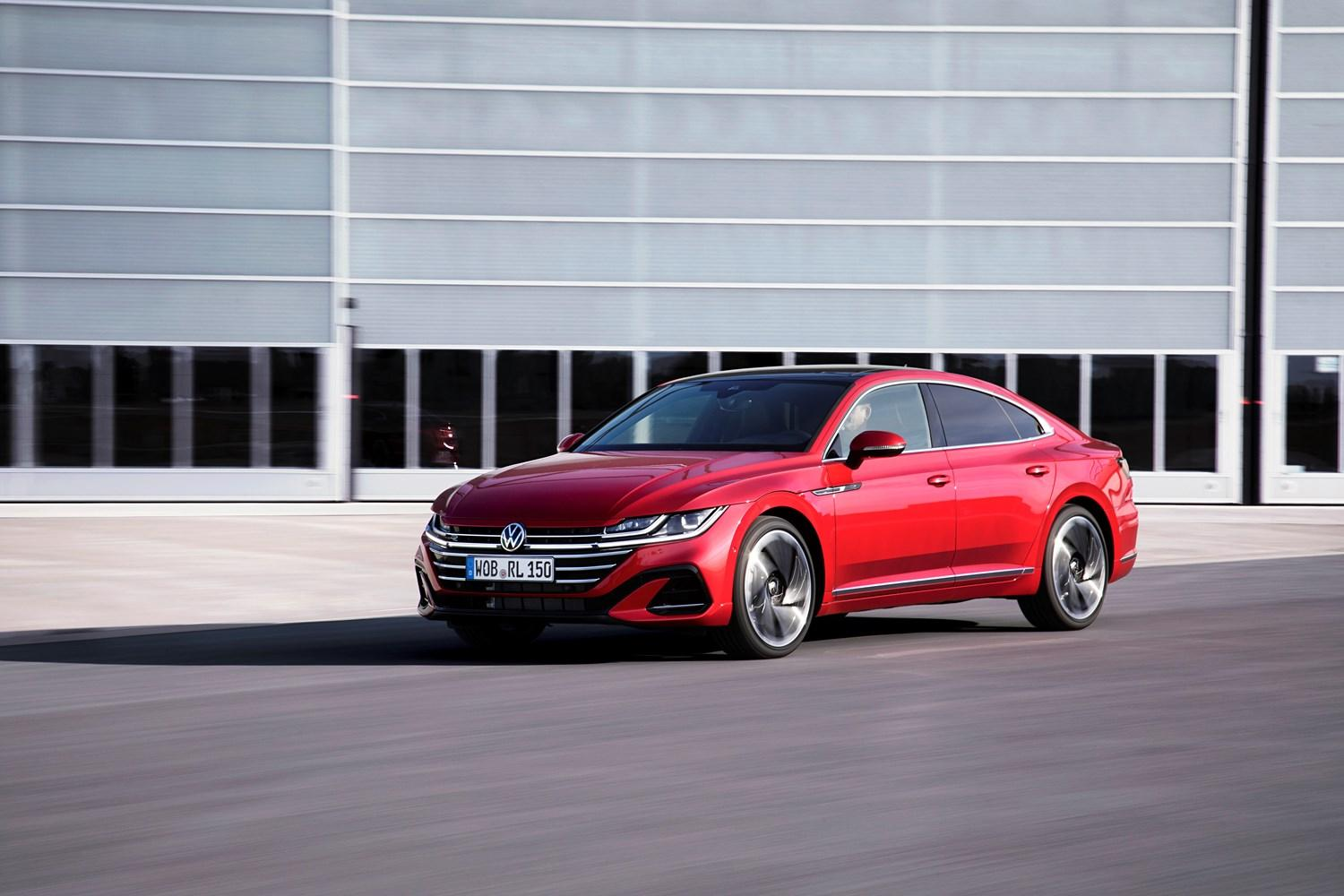 Red arteon in front of office style building