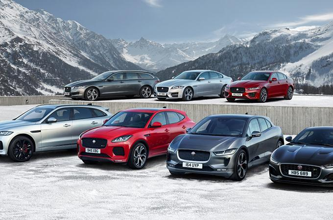 Jaguar range in snowcapped mountains