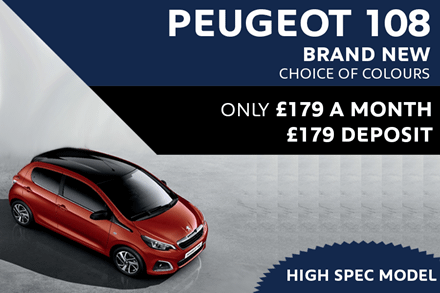 Peugeot 108 - Only £179 A Month With £179 Deposit