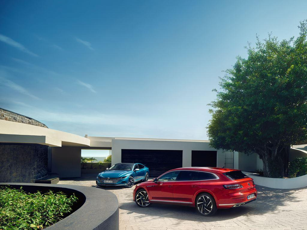 Blue and red parked Volkswagen Arteon Shooting Brake