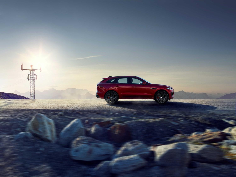 Red Jaguar F-Pace on salt flats