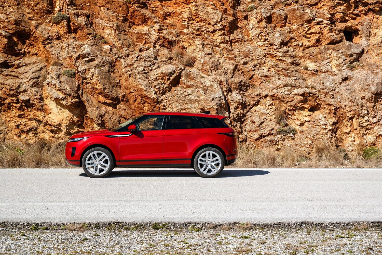 Red range rover evoque