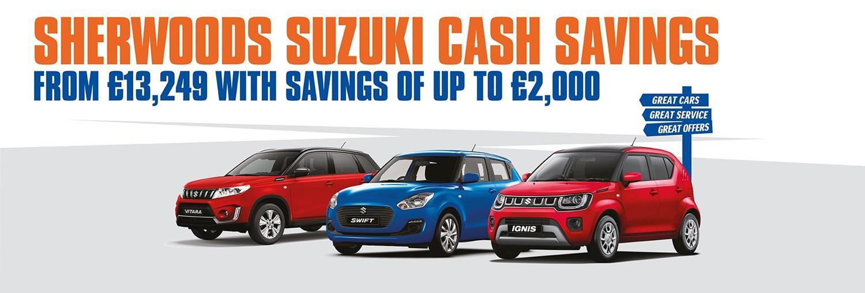 Sherwoods Suzuki cash saving offer saving up to £2,000