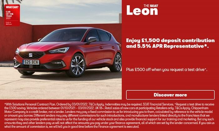 New SEAT Leon with £1500 deposit contribution
