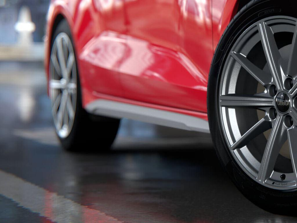 Red Audi S3 Saloon alloy wheels