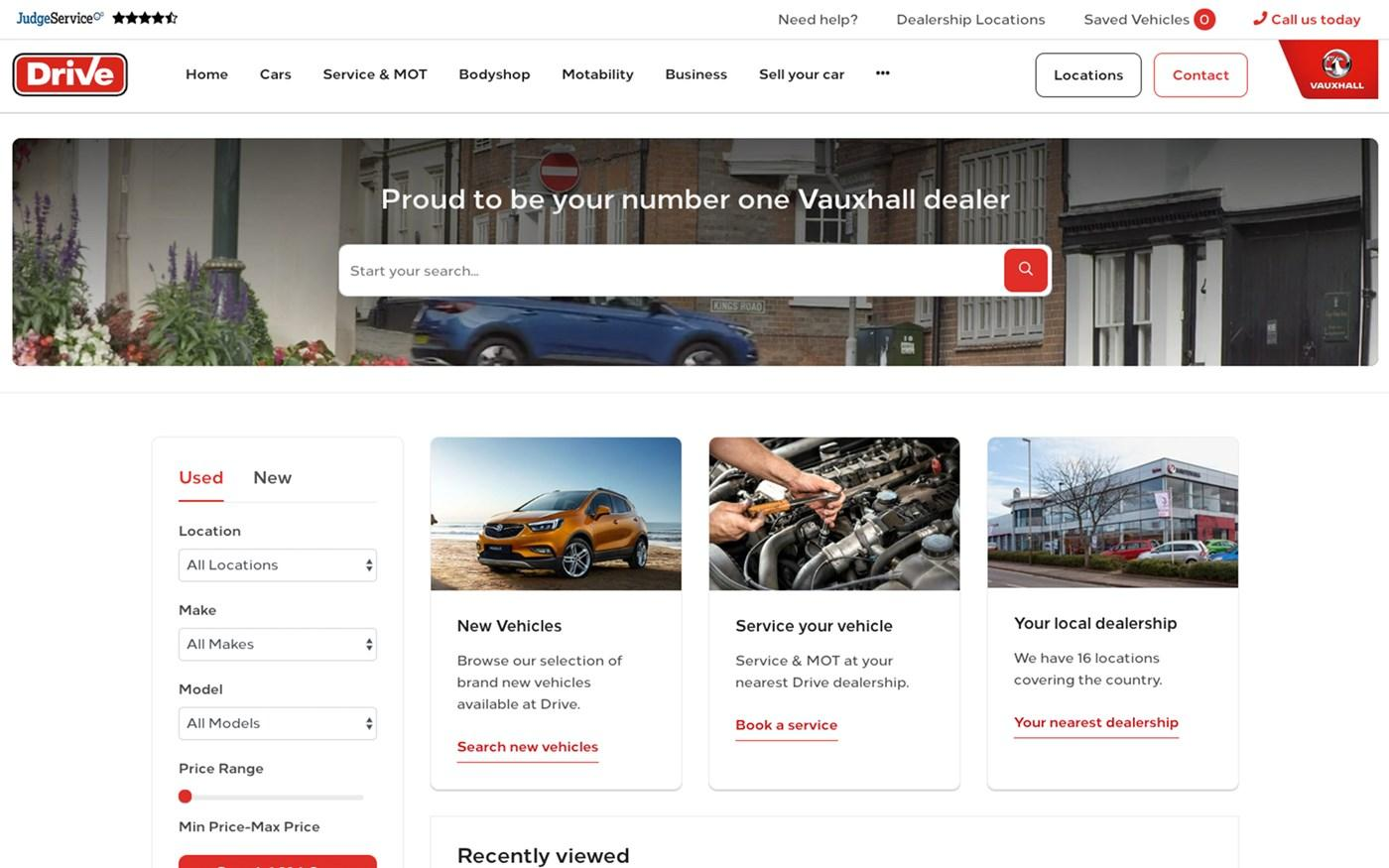 Drive Vauxhall website screenshot