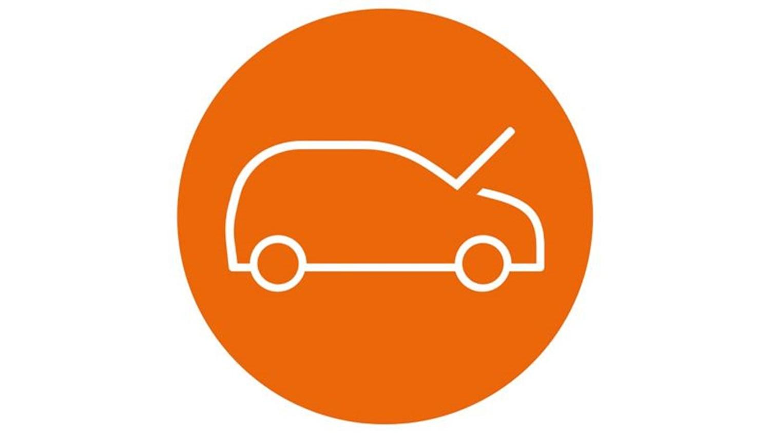 Orange circle with a white car icon with the bonnet open