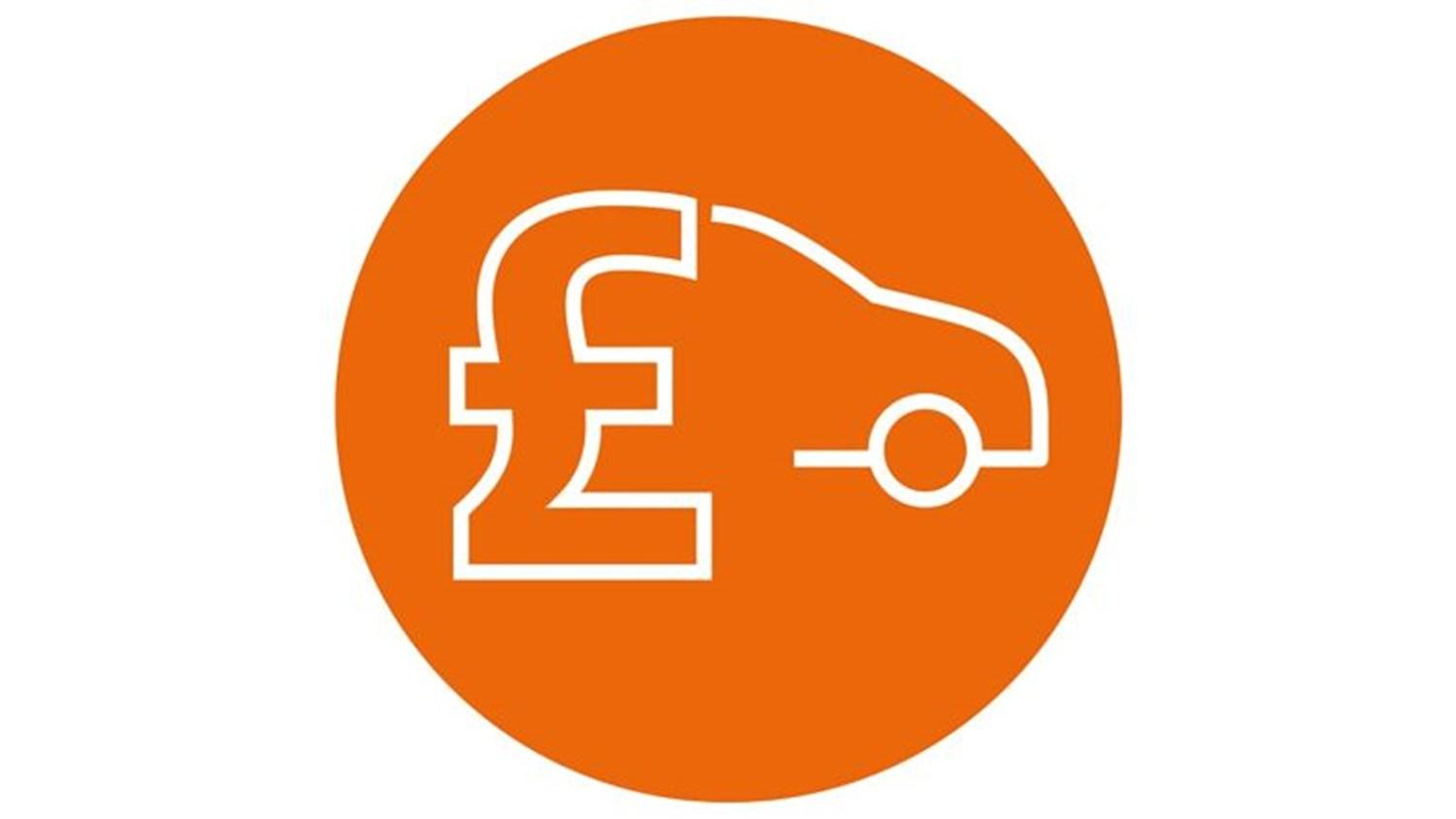 Orange circle with white icon of a car and a pound sign