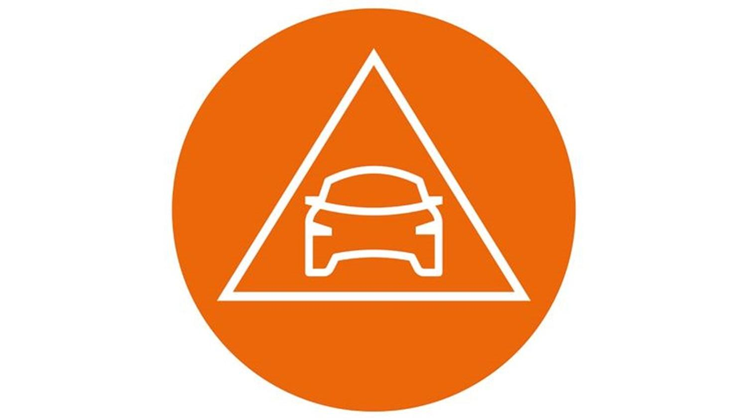 orange circle with white icon of car in a triangle