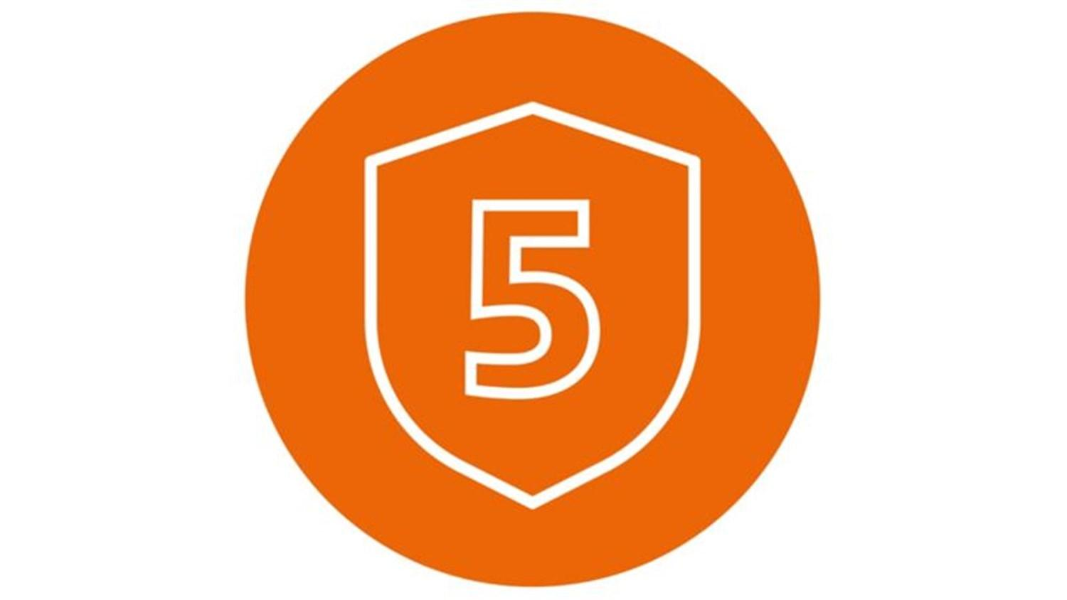 orange circle with white five in a shield