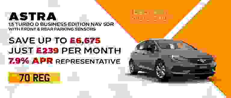 70-REG Astra Business Edition Nav With Front & Rear Sensors Included