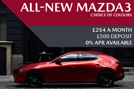 All-New Mazda3 - Now Available For £254 A Month With £500 Deposit And 0% Finance Available