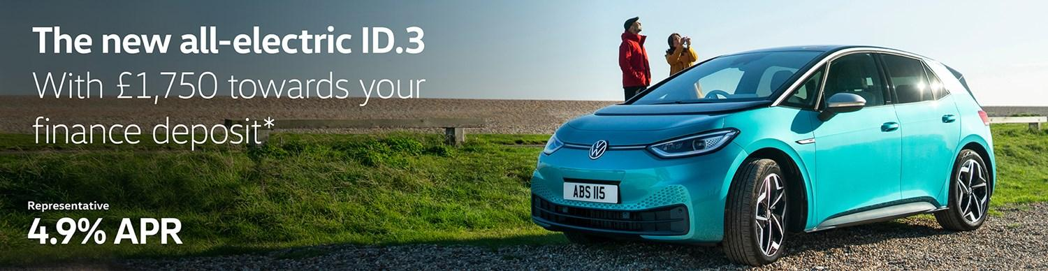 The new all-electric ID.3 with £1,750 towards your finance deposit and 4.9% APR Representative