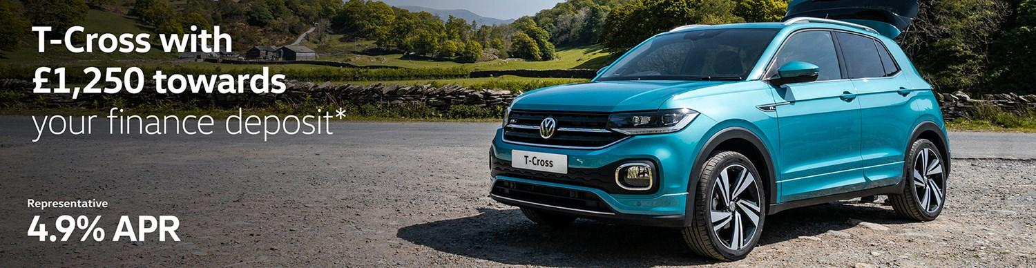 T-Cross with £1,250 towards your finance deposit with 4.9% APR representative