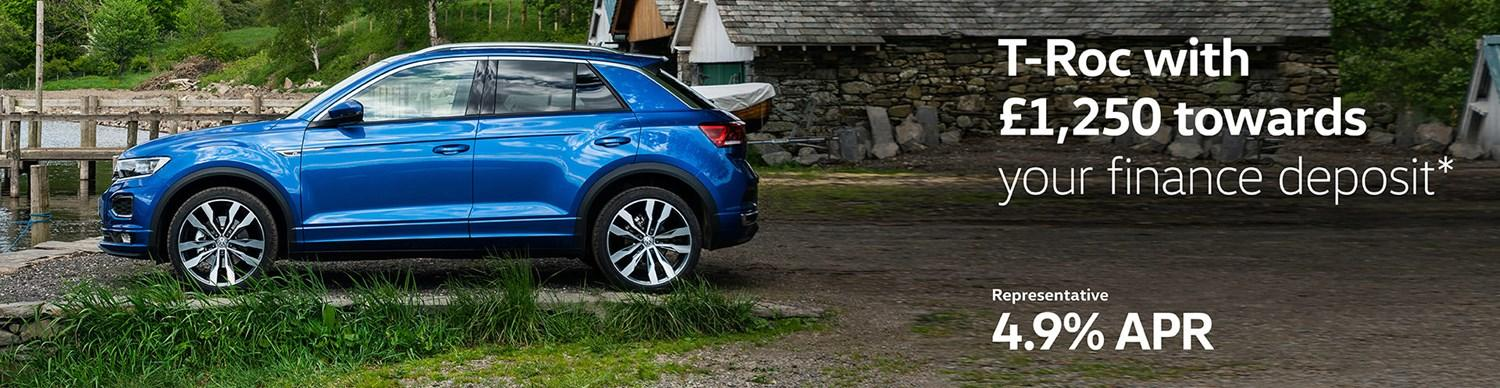 T-Roc with £1,250 towards your finance deposit and 4.9% APR Representative